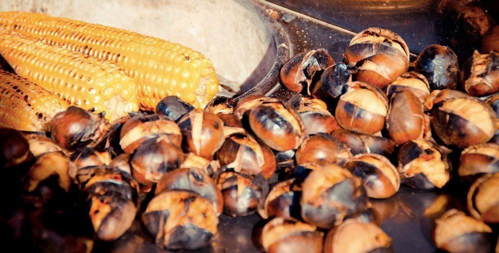 Кукуруза с каштанами, уличная еда в турции