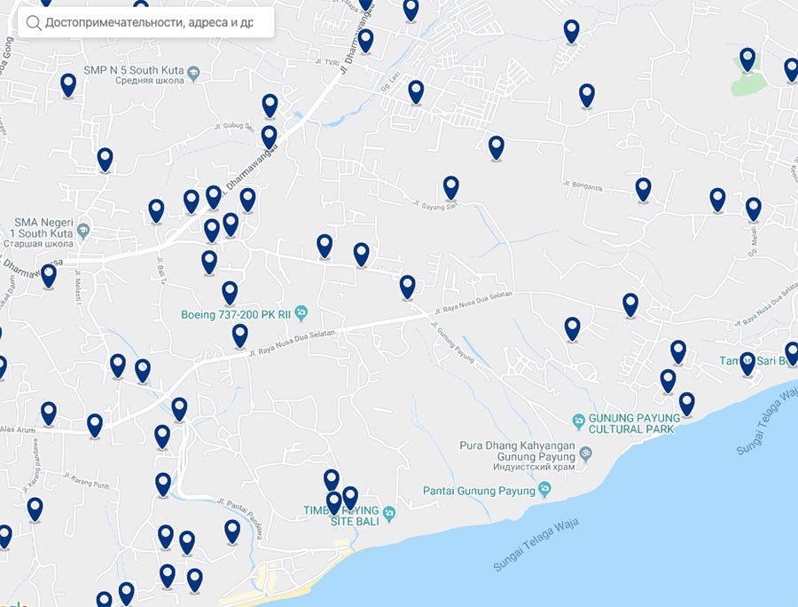 Полуостров Букит и Улувату - карта гостиниц